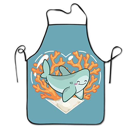 fdghjdyjdty Sute Shark Coral Personalized Apron for Kitchen Baker Baking Restaurant Cooking Chef Crafting Apron Sleeveless -