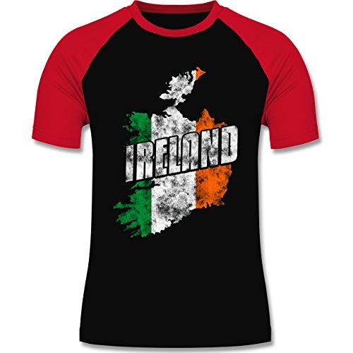 EM 2016 - Frankreich - Ireland Umriss Vintage - zweifarbiges Baseballshirt für Männer Schwarz/Rot