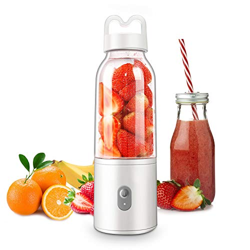 E-More Licuadora Portátil, Mini Batidora de Vaso con 4 Cuchillas 500ML Juicer Smoothie Maker USB Recargable...
