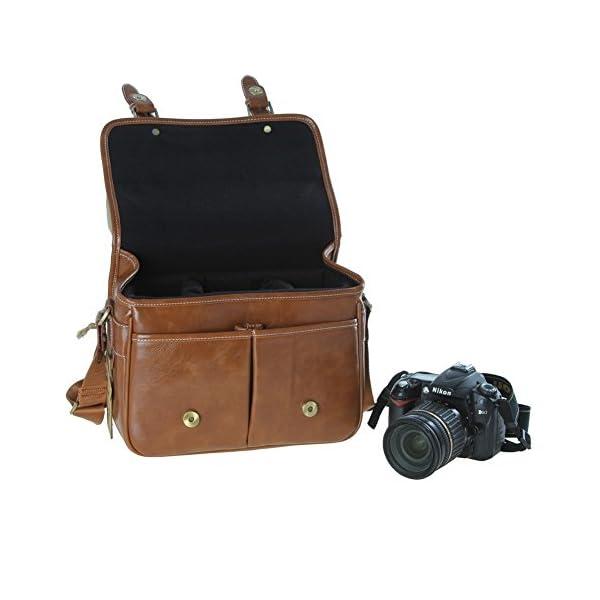 Bolsa Koolertron de cuero PU para cámara réflex DSLR y SLR, de color marrón para Canon, Sony, Nikon y Canon Olympus 3, color a elegir