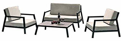 MDS Salon de Jardin Italia : Un Ensemble en Aluminium laqué Noir, pour Les Petits espaces - 1 Sofa Deux Places, 2 fauteuils et 1 Table Basse.