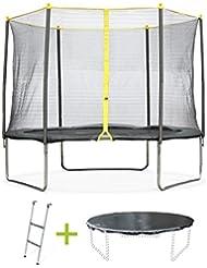 Alice's Garden - Trampoline rond de 305 cm de diamètre avec son filet de sécurité, son échelle et sa bâche de protection- Cabri Ø305cm - Normes : trampoline certifié par Intertek