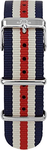 Sailor Damen Herren Nylon Armband Marine blau-weiß-rot BSL101-2014-20, Breite Armband:20mm (normal),