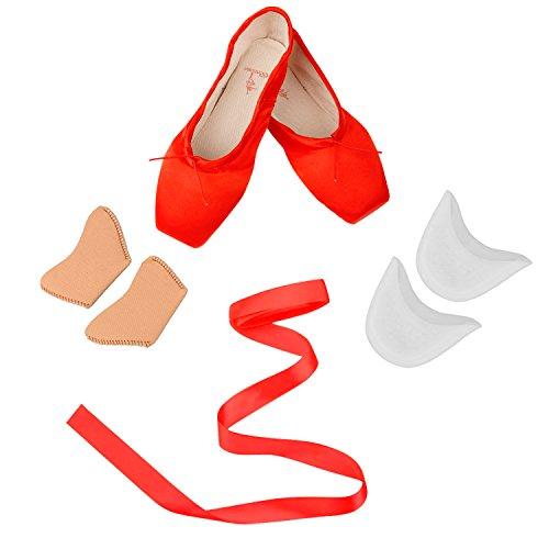 Chaussures de Ballet Classique Pointe Satin Ballet Chaussure de Danse avec Capuchons d'orteils Protecteurs en Gel de Silicone et Ruban (EU 36=8.85 inch, Rouge)