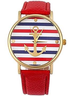 Multifarbe Damenuhr Herrenuhr Armbanduhr Analog Uhr mit Steifen Anker Muster Kunstleder Armband