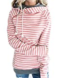 ASSKDAN Damen Gestreift Pulli Sweatshirts Hoodie Sport Langarm Reißverschluss Pullover Outerwear (EU 46/3XL, Orange)