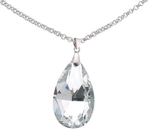 Behave Schmale Kette mit großem faciertem Stein - Elegante Halskette mit großem SteinAnhänger