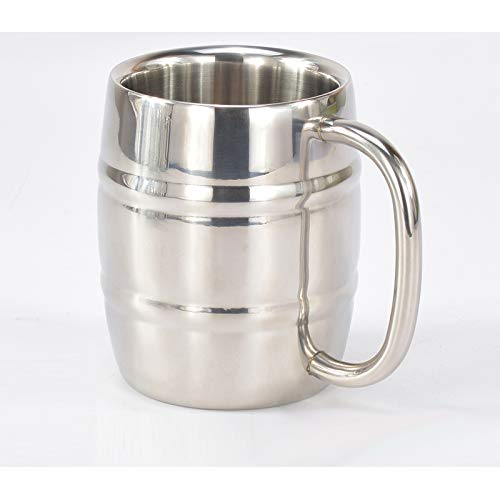 HSXOT 450 Ml Stainless Steel Beer Mug Cup Outdoor Camping Western Coffee Cup Tea with Handle Insulation Cup Portable Drink