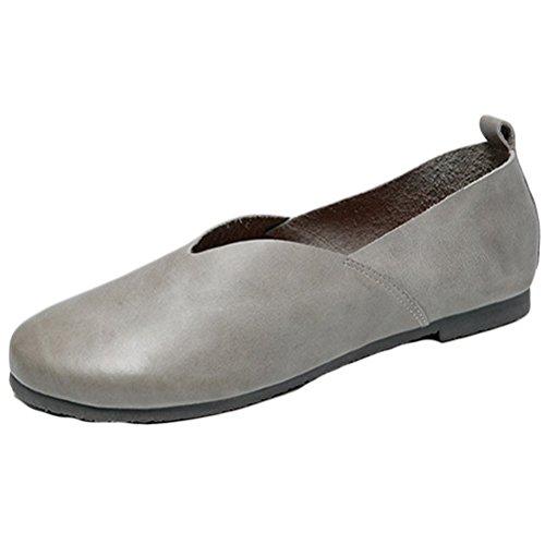 Vogstyle Femme Chaussures Plates en Cuir Plein Couleur Style-1 Gris