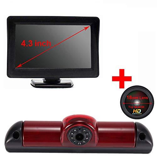Auto Dritte Dach Top Mount Bremslicht Rückfahrkamera Rückfahrsystem Einparkkamera+ 4,3 Zoll LCD Monitor für FIAT Ducato 2006/Peugeot Boxter 2006/Citroen Jumper 2006(18mm neu Lens)