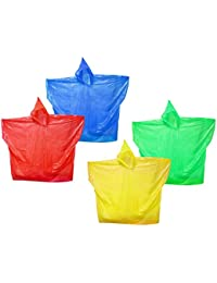 com-four® 4X Poncho para Lluvia Reutilizable, Poncho de Emergencia para Lluvia con Capucha - Cubierta para Lluvia para Cada ocasión (Adulto Reutilizable - 04 Piezas Mix 2)