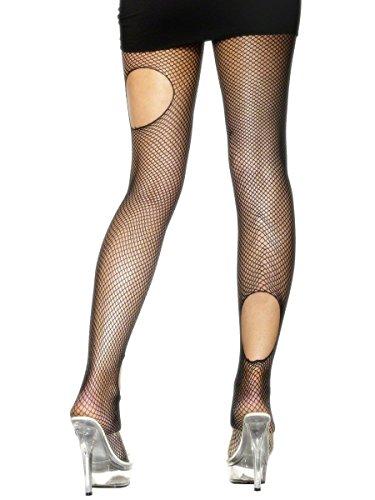 schwarze Netzstrumpfhose Strumpfhose Kostüm Zubehör zu Halloween (Kostüme Größentabelle Smiffys)