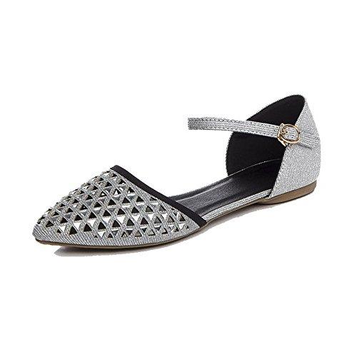 VogueZone009 Femme Mosaïque Non Talon Boucle Pointu Chaussures à Plat Gris