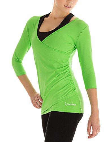 Winshape Damen 3/4-arm Shirt in Wickeloptik Fitness Yoga Pilates Freizeit apfelgrün L