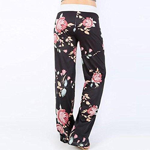 Zhhlaixing Casual Floral Print Pants Drawstring Wide Leg pantaloni tuta da donna Pajama Lounge Ladies Trousers High Waist Blue