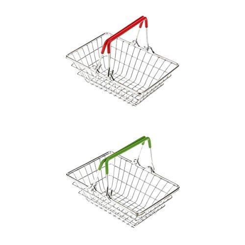 MagiDeal 2X Mini Einkaufshand Korb Warenkorb Kinder Supermarkt Rollenspiel Spielzeug, Grün + Rot -