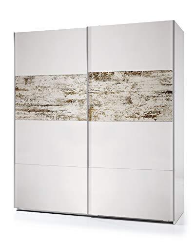 Esidra armadio guardaroba moderno, 2 ante scorrevoli, legno bianco e decapato, 200 x 180 x 63 cm