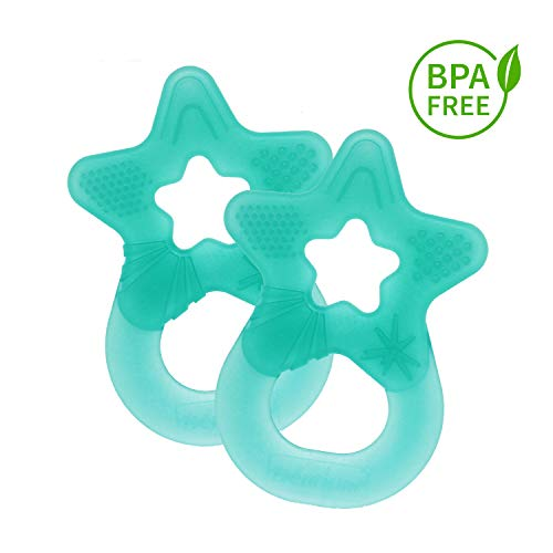 Dentistar® Baby Beißstern - 2er Set Beißring - Zahnungshilfe - BPA frei - ab 3 Monaten - Made in Germany | Türkis Grün