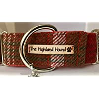 "The Highland Hound Glencoe Handmade 2"" Martingale Dog Collar Greyhound Lurcher Sighthound Whippet Small Medium Large"