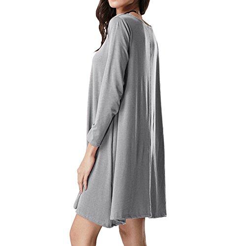 La Cabina Femme Casual Maxi Robe Sweat-shirt en Col V - Top Long Lâche Confortable pour Sports & Vie Quotidienne Gris
