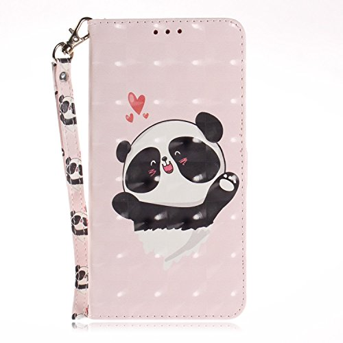 vingarshern Hülle für DOOGEE Y300 Schutzhülle Etui Tasche Klappbares Magnetverschluss Lederhülle Flip Case Handytasche Doogee Y300 Hülle Leder Brieftasche MEHRWEG(Panda-2)