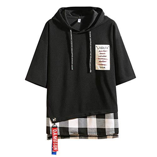 ODRD Herren T Shirts, Oversize Shortsleeve Herren Sommer Mode PrintHoodie Lose T-Shirts Gefälschte Zwei Halbarm Tops Vintage Jugend Blouse Tops Basic Shirt - Angora Rollkragen