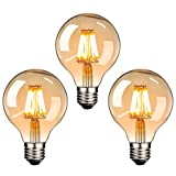 LED Edison Glühbirne E27, NUODIFAN 3 x Retro Glühbirne 8W Dimmbar Vintage Stil LED Filament Birne Lampe Amber Glas (500 Lumens, 2700K) Ideal für Dekorative Beleuchtung mit Antike Nostalgie Stil