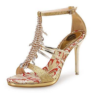 LvYuan Da donna-Sandali-Matrimonio Formale Serata e festa-Club Shoes-A stiletto-Lustrini PU (Poliuretano)-Argento Dorato Silver