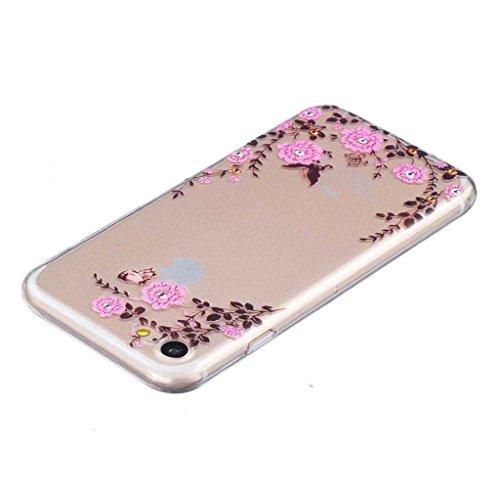 iGrelem® Cover per iPhone 7, con protezione per lo schermo in vetro temperato, Ultra sottile, trasparente, morbida, in TPU, per Apple iPhone 7da 4,7, motivo a scelta con fiori, farfalle, piume color Flower #1, Pink
