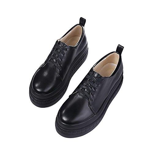 AgooLar Damen Weiches Material Rund Zehe Hoher Absatz Schnüren Rein Pumps Schuhe Schwarz