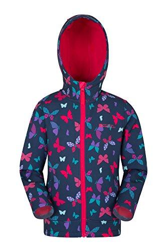 Mountain Warehouse Exodus Softshelljacke mit Print für Kinder - Sommermantel mit Taschen, Jacke mit Fleecefutter in Kapuze, Regenmantel - Für Radfahren und Wandern Dunkelblaugrün 128 (7-8 Jahre)