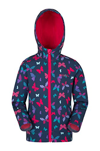 Mountain Warehouse Exodus Kids Printed Softshell Jacket - 2 Pockets Summer Coat, Fleece Lined Hoodie Jacket, Water Resistant Rain Coat- for Cycling, Hiking & Walking Dark Teal 9-10 Years