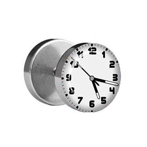 Treuheld 1x Fake Plug Uhr/Uhrzeit - Ø 10mm Bild Ohrstecker mit Motiv Zum Schrauben - Chirurgenstahl Ohr Faketunnel Silber - Tunnel Ohrringe Ohrring Stahl Fakeplug