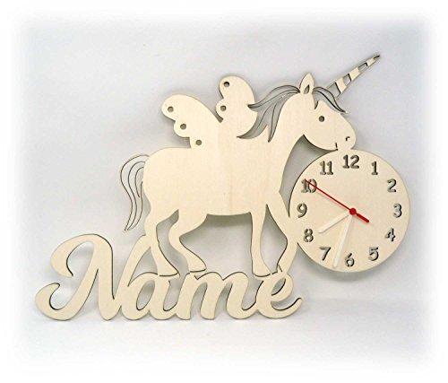 Wand Uhr Einhörner Einhorn Sachen Design Figuren mit Name zur Deko Geschenke für das Mädchen Kinderzimmer - Personalisierte Wand-uhr