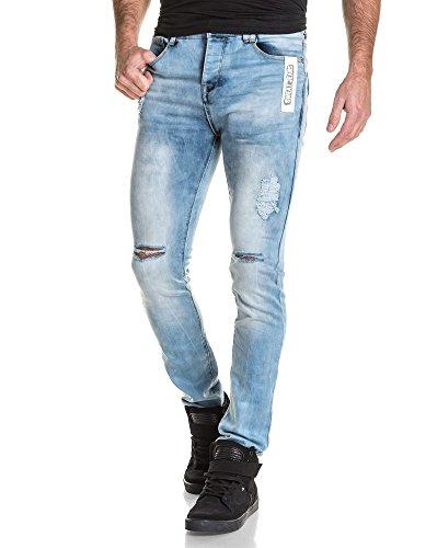 BLZ jeans - Jeans homme bleu clair délavé destroy Bleu