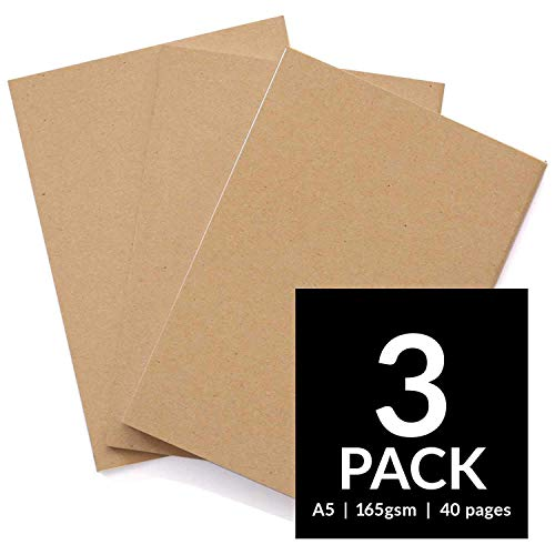 Sketchbooks - Soft Cover Starter Sketch Book and White 165 GSM Cartridge Paper Sketch Pad with Sizes A3 and A4 for Mixed Media Use (Pack of 3 - A4, Kraft) -