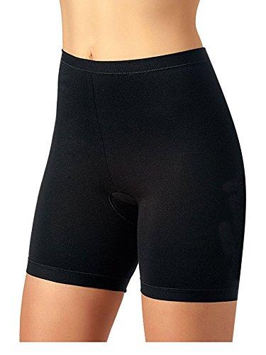 Lady Bella - G3119 Confezione 2 Slip Gamba Lunga Anti-sfregamento Cosce in Cotone Elasticizzato, Pantaloncini Intimi Estivi per protezione sfregamento interno coscia (3, Nero)