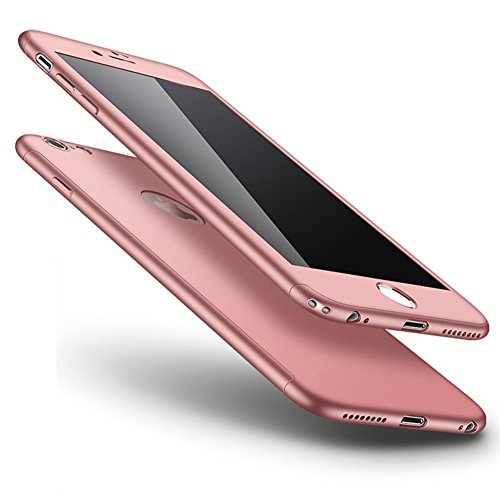 Custodia Cover iPhone SE/5S/5 360 gradi Protezione Silicone Morbida,Ukayfe [3 in 1] Completa Glitter Sparkle Bling Cristallo Lusso di Glitter Angelo Disegno HD Full Body Cover per iPhone SE/5S/5 Trasp Oro Rosa di Seta