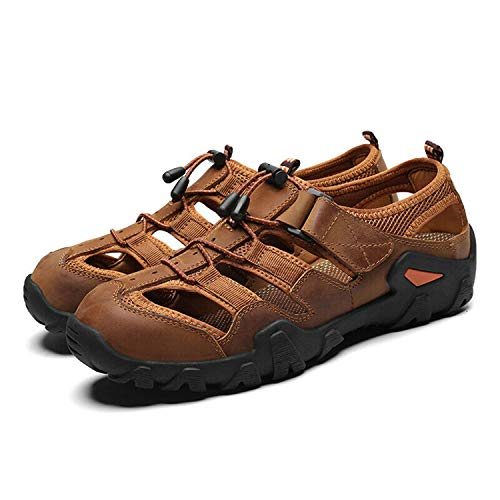 Summer Men Pumps Hollow Out Outdoor Solid Sport Leisure Leather Shoes Breathable Light Brown US41