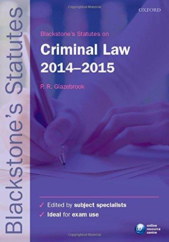 Blackstone's Statutes on Criminal Law 2014-2015 (Blackstone's Statute Series)