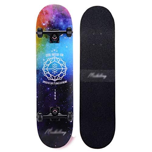 DUWEN-Skateboard Erwachsene Mädchen Anfänger Teens Brush Street Dance Board Junge Doppel Rocker Typ Professioneller vierrädriger Roller (mit Flash-Rad) (Farbe : E)