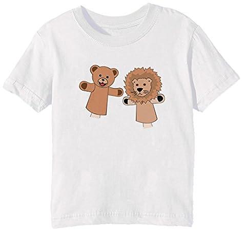 Marionnettes Enfants Unisexe Garçon Filles T-shirt Cou D'équipage Blanc Manches