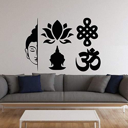 daufkleber Buddhismus Loutus Blume Vinyl Wandtattoo Home Wohnzimmer Dekoration Yoga Stil Tapete Buddhismus Kunst Rosa 120x85 cm ()