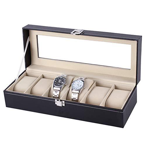 Ohuhu scatola porta orologi per 6 orologi box storage con coperchio in vetro nero in similpelle, 6-scomparto scatola porta orologi in cuoio tenere gli orologi in ordine - beige