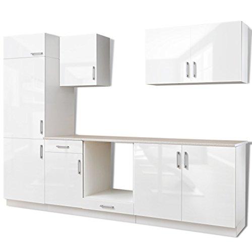 Festnight armadietto cucina lucido bianco con unità frigorifero 7 pz 270 cm