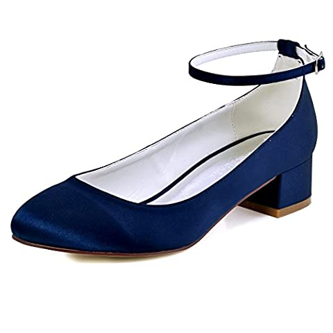 ElegantPark FC1613 Damen Geschlossene Zehen Ankle Strap Block Absatz Pumps Hochzeit Brautschuhe Dunkel Blau EU 43