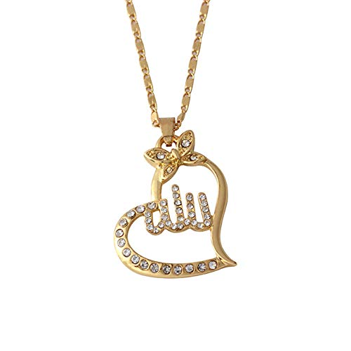 3d057e467c4 Yimosecoxiang Fashionable Women Religious Islamic Muslim Arabic Allah  Pendant Rhinestone Necklace Jewelry - Golden