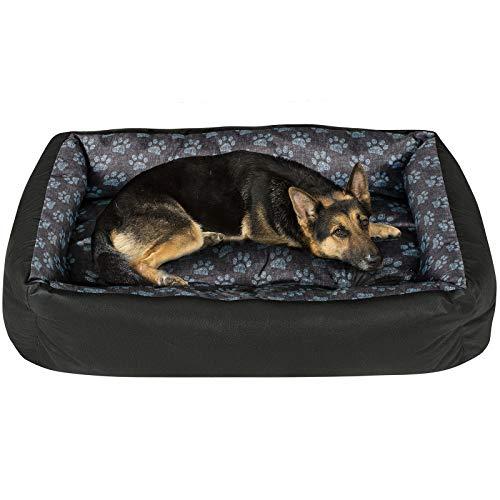 SuperKissen24 Hundebett Hundekorb Hundesofa Tierbett für Kleine, Mittlere und Grosse Hunde - Waschbar - Größe L - Schwarz und Grau - Pfoten aus flachs