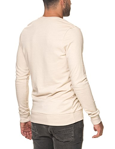 Sublevel Men's Men's Dark Blue Melange Sweatshirt Cotton And Polyester Beige