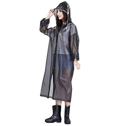 Women's Raincoat Long Sleeves With Hood EVA Polka Dot/Translucent Waterproof Rain Jacket Long Hooded Rainwear Ladies Showerproof Mac With Pouch for Women, Size L, XL, Blue, Red, White, Purple, Grey
